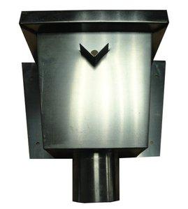 Zinken Regenpijp - Vergaarbak Rechthoekig - Rond 80 mm